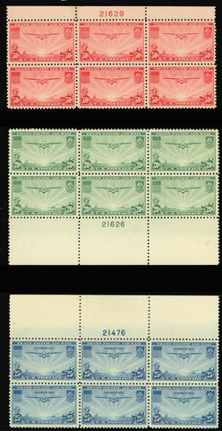 C20-C22, Mint NH VF-XF COMPLETE SET OF PLATE BLOCKS - Cat $202.50