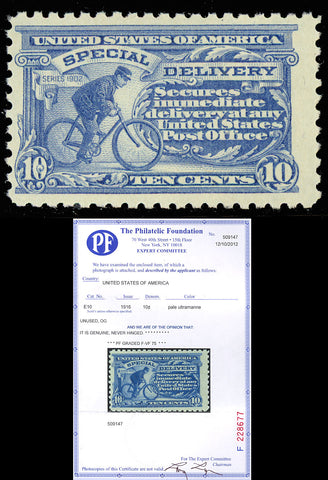 E10 10¢ Special delivery Perf 10 - VF OG NH With PFC Cat $700.00