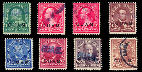 GUAM #1//8, Group of Eight Used Stamps F-VF Cat $705.00
