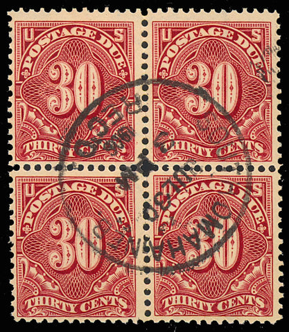 J43, Used 30¢ Block of Four - Postage Due Stamp Cat $450.00