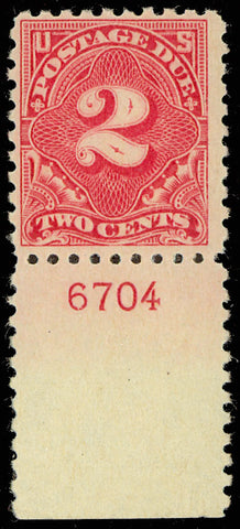 J60 Mint NH 2 Cent Postage Due Stamp With PL# Cat $600.00