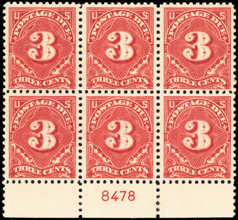 J63 Mint VF-XF NH 3¢ Plate Block of Six Stamps