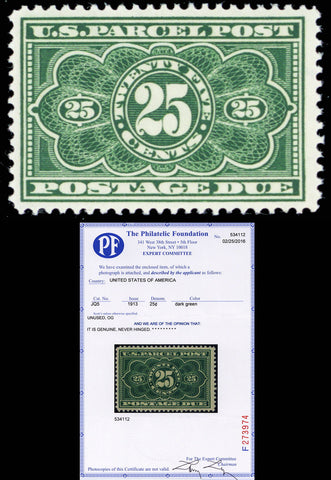 JQ5, Mint 25¢ Parcel Post VF-XF NH With PF Certificate