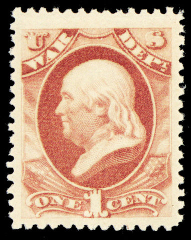 O114, Mint Superb OG NH JUMBO 1¢ War Dept