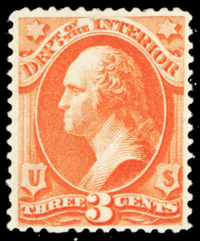 O17, Mint VF OG VLH 3¢ Dept of Interior Official Stamp