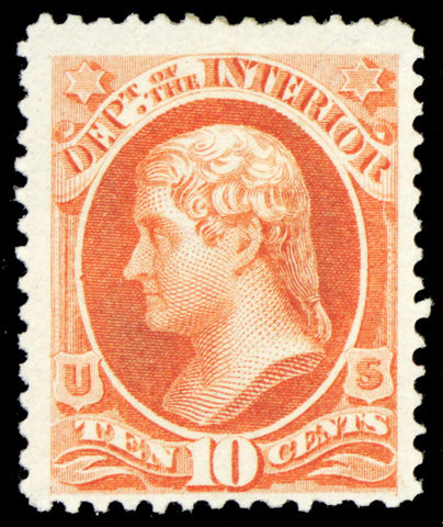 O19, Mint VF OG LH 10¢ Dept of Interior Official Stamp