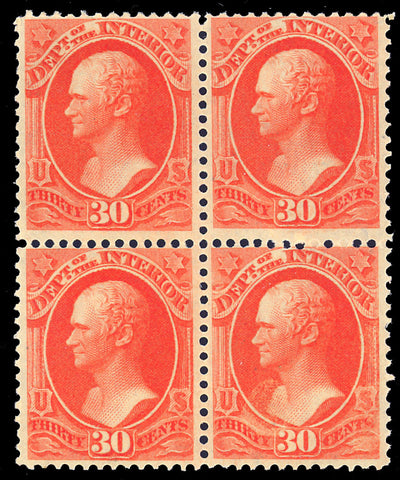 O23 Mint OG LH 30¢ Official Block of Four - Cat $1,250.00