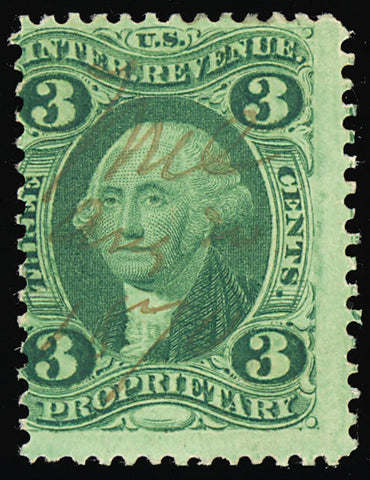 R18d, Rare 3¢ Silk Paper Revenue Stamp