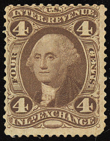 R20d, Rare Mint 4¢ Silk Paper Revenue Stamp