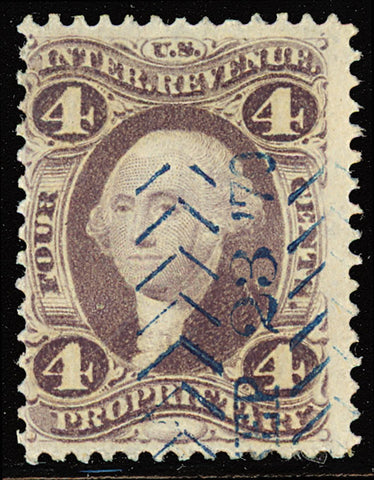 R22d, Rare 4¢ Silk Paper Revenue Stamp
