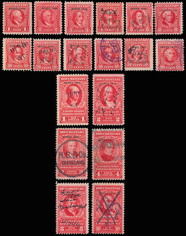 R288-R305, 18 Documentary Revenue Stamps Cat $428.25