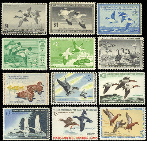 RW12//RW38 Twelve Different Duck Stamps ALL Mint VF NH Cat $1,225.00