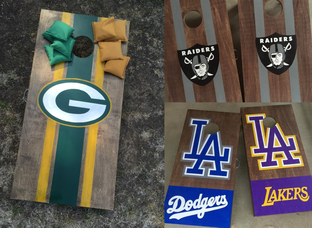 custom cornhole boards, sports logo cornhole boards