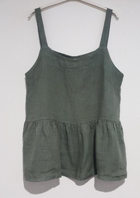 Montaigne, Solid Linen Singlet Top, Female, Khaki, One Size