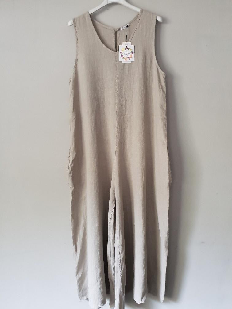 Talia Benson, Italian Linen Jumpsuit with Side Pockets, Female, Natural