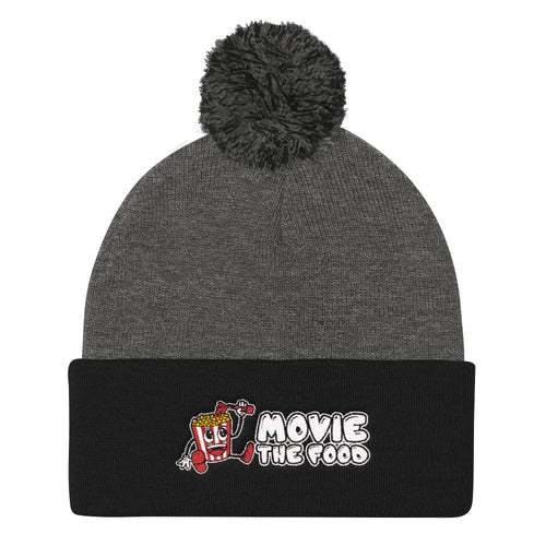 Movie The Food - Logo Pom Pom Knit Beanie - Dark Heather/Black