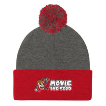 Load image into Gallery viewer, Movie The Food - Logo Pom Pom Knit Beanie - Dark Heather/Red