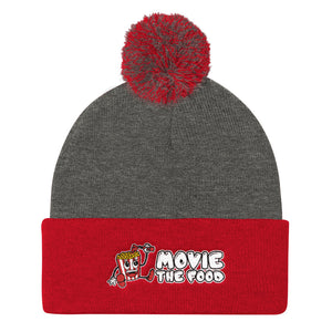 Movie The Food - Logo Pom Pom Knit Beanie - Dark Heather/Red