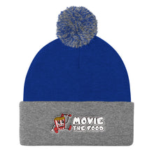 Load image into Gallery viewer, Movie The Food - Logo Pom Pom Knit Beanie - Royal/Heather