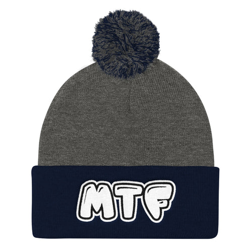 Movie The Food MTF Logo Pom Pom Knit Beanie Dark Heather/Navy
