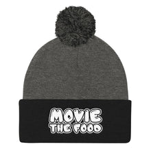 Load image into Gallery viewer, Movie The Food - Text Logo Pom Pom Knit Beanie - Dark Heather/Black