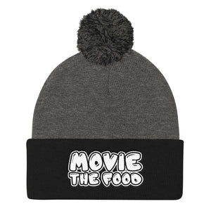 Movie The Food - Text Logo Pom Pom Knit Beanie - Dark Heather/Black