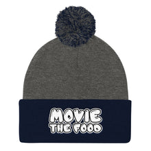 Load image into Gallery viewer, Movie The Food - Text Logo Pom Pom Knit Beanie - Dark Heather/Navy