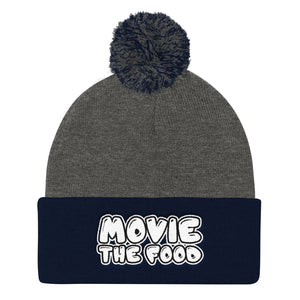 Movie The Food - Text Logo Pom Pom Knit Beanie - Dark Heather/Navy