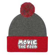 Load image into Gallery viewer, Movie The Food - Text Logo Pom Pom Knit Beanie - Dark Heather/Red