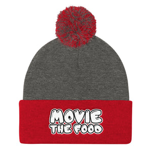 Movie The Food - Text Logo Pom Pom Knit Beanie - Dark Heather/Red