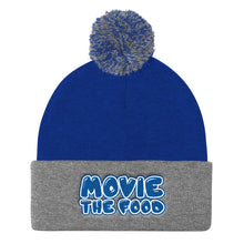 Load image into Gallery viewer, Movie The Food - Text Logo Pom Pom Knit Beanie - Royal/Heather