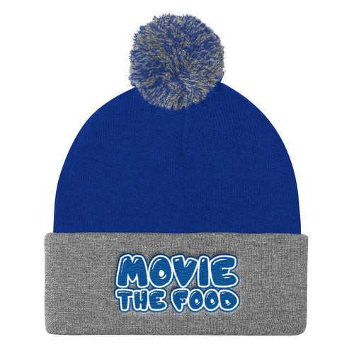 Movie The Food - Text Logo Pom Pom Knit Beanie - Royal/Heather
