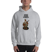 Load image into Gallery viewer, Movie The Food - Zero Dark Turkey Hoodie - Heather Grey - Model Front