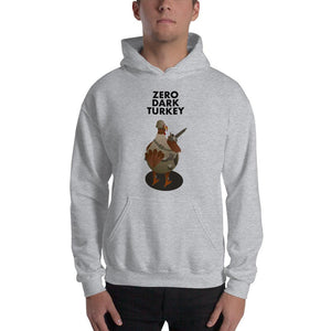 Movie The Food - Zero Dark Turkey Hoodie - Heather Grey - Model Front