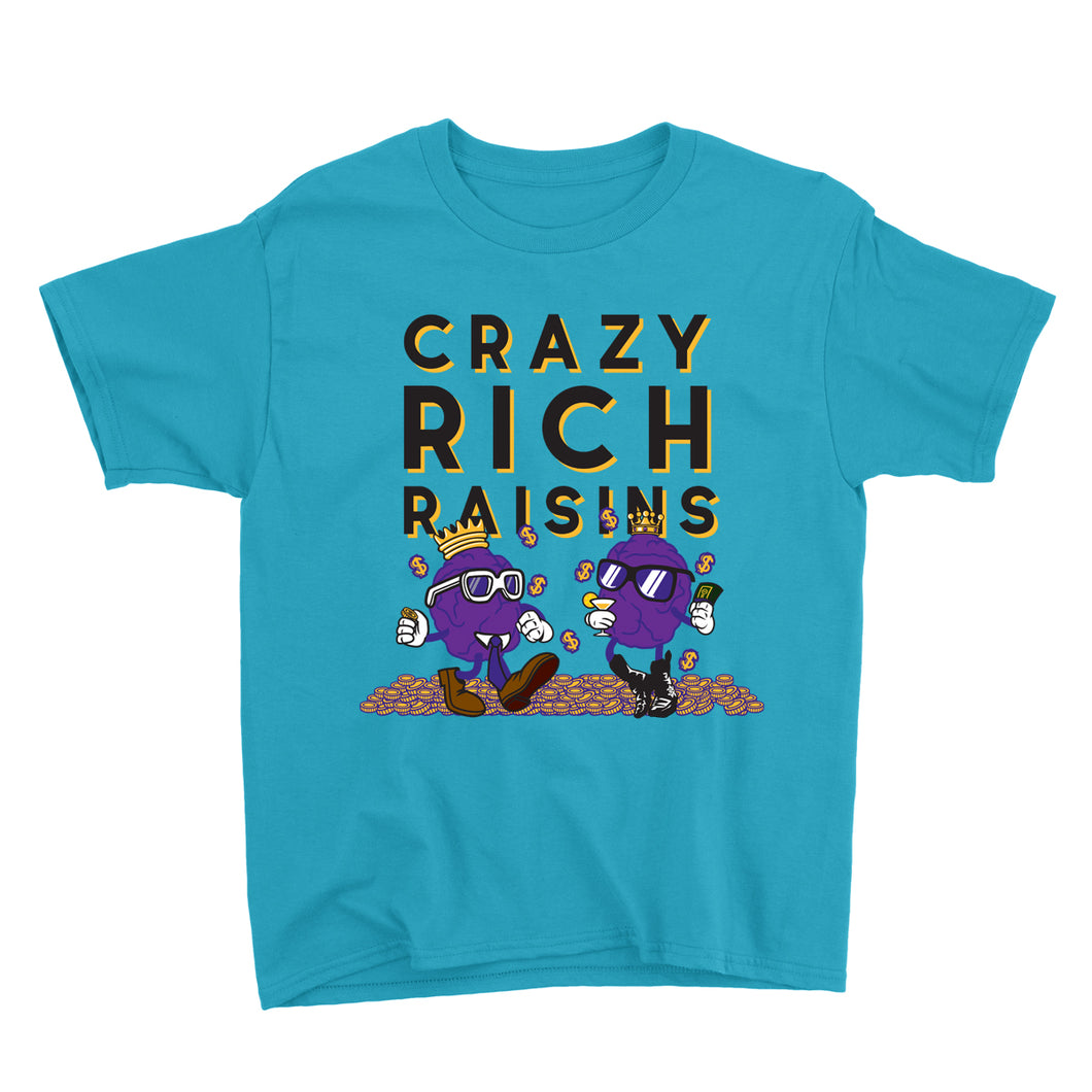 Movie The Food - Crazy Rich Raisins Kid's T-Shirt - Caribbean Blue