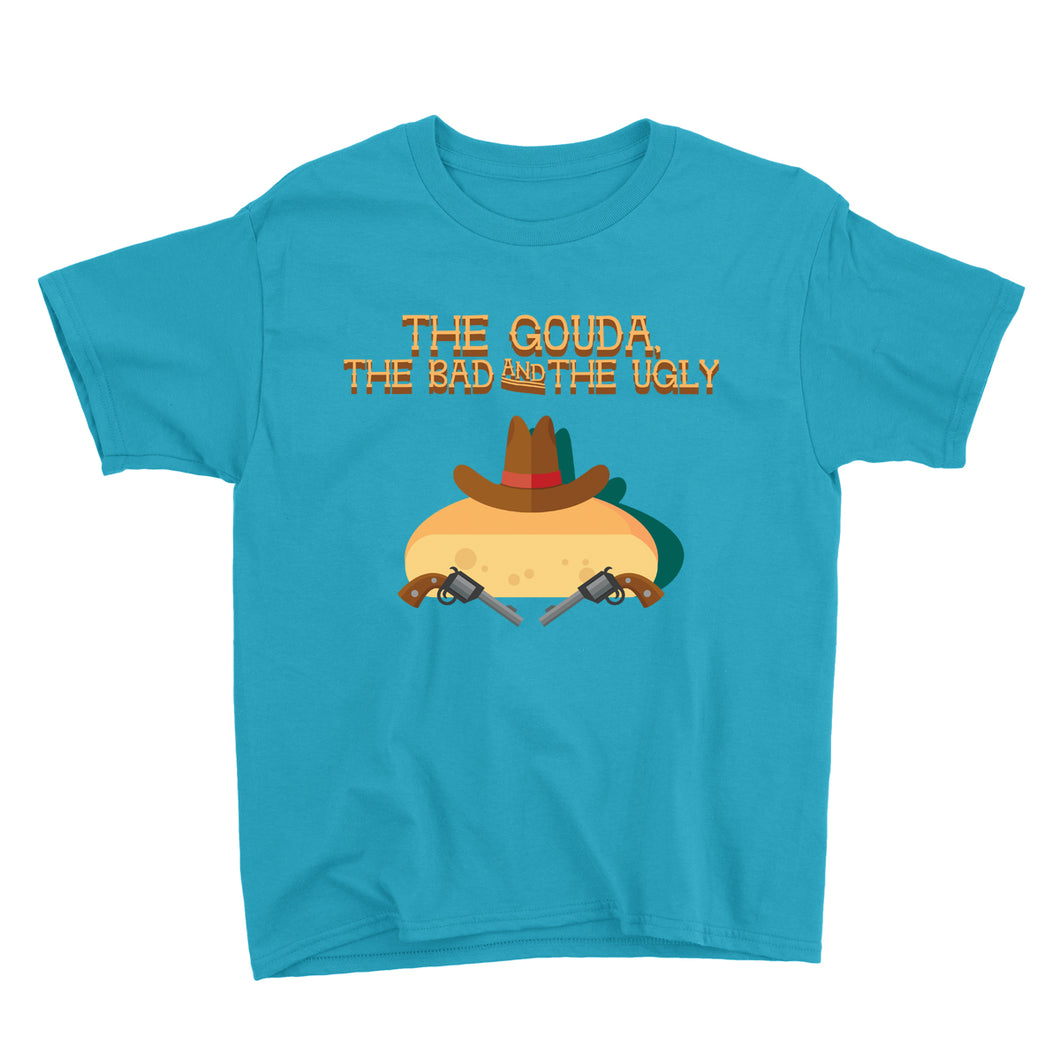 Movie The Food - The Gouda, The Bad, The Ugly Kid's T-Shirt - Caribbean Blue