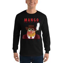 Load image into Gallery viewer, Movie The Food - Mango Unchained Long Sleeve T-Shirt - Black - Model Front