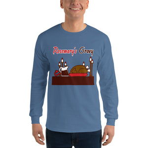 Movie The Food - Rosemary's Gravy Longsleeve T-Shirt - Indigo Blue - Model Front