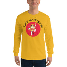 Load image into Gallery viewer, Movie The Food - The Karate Quiche Long Sleeve T-Shirt - Gold - Model Front