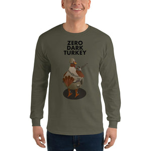 Movie The Food - Zero Dark Turkey Longsleeve T-Shirt - Military Green - Model Front