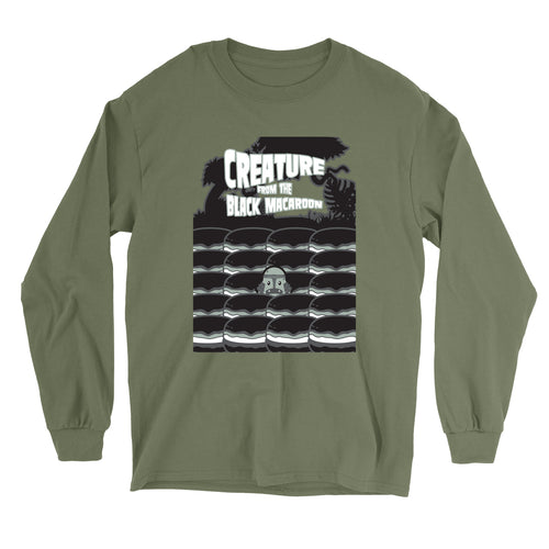 Movie The Food - Creature From The Black Macaroon Longsleeve T-Shirt - Military Green