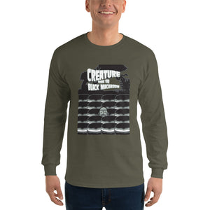 Movie The Food - Creature From The Black Macaroon Longsleeve T-Shirt - Military Green - Model Front