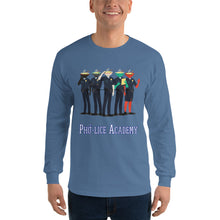 Load image into Gallery viewer, Movie The Food - Pho-lice Academy Longsleeve T-Shirt - Indigo Blue - Model Front