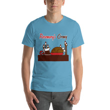 Load image into Gallery viewer, Movie The Food - Rosemary's Gravy T-Shirt - Ocean Blue - Model Front
