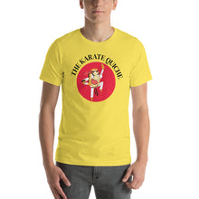 Load image into Gallery viewer, Movie The Food - The Karate Quiche T-Shirt - Gold - Model Front