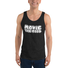 Load image into Gallery viewer, Movie The Food - Text Logo Tank Top - Charcoal-black Triblend - Model Front