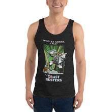 Load image into Gallery viewer, Movie The Food - Toastbusters Tank Top - Charcoal-black Triblend - Model Front