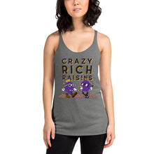 Load image into Gallery viewer, Movie The Food - Crazy Rich Raisins Women's Racerback Tank Top - Premium Heather - Model Front