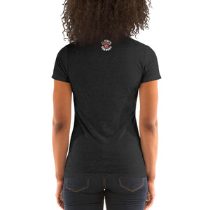 Movie The Food - Round Logo Women's T-Shirt - Charcoal-black Triblend - Model Back
