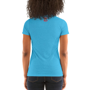 Movie The Food - The People Beneath The Eclairs Women's T-Shirt - Aqua Triblend - Model Back